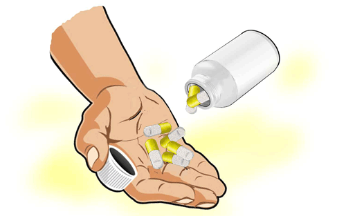 graphic of capsules being poured into the palm of a hand